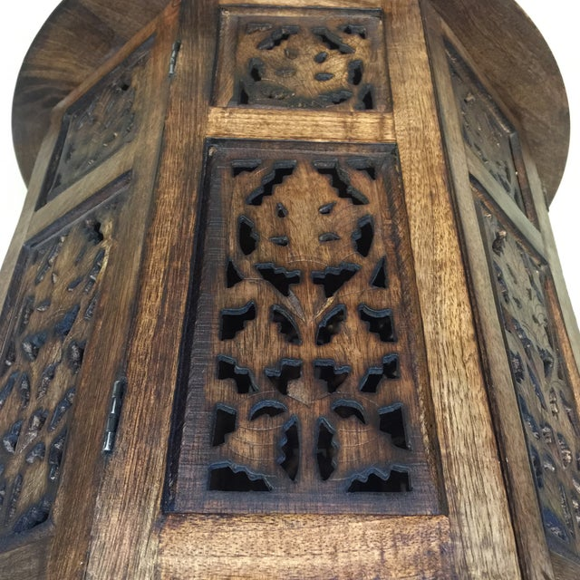 Wood Teak Carved Round Table For Sale - Image 7 of 8