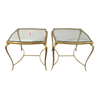 Hollywood Regency Brass and Glass Henredon Side Tables - a Pair For Sale