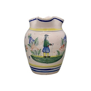 French Quimper Faience Bretton Pitcher For Sale