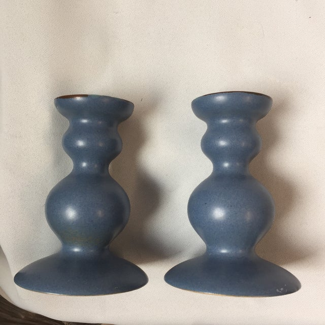 Dansk Curvy Ceramic Candlestick Holders- A Pair - Image 9 of 10