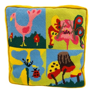 Vintage Needlepoint Square Pillow With Velvet Backing For Sale