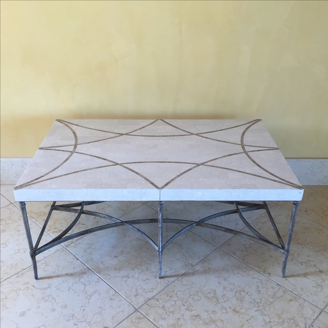 Faux Stone and Metal Coffee Table For Sale - Image 4 of 9