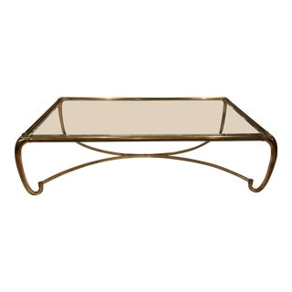 Mastercraft Hollywood Regency Brass With Glass Top Coffee Table For Sale