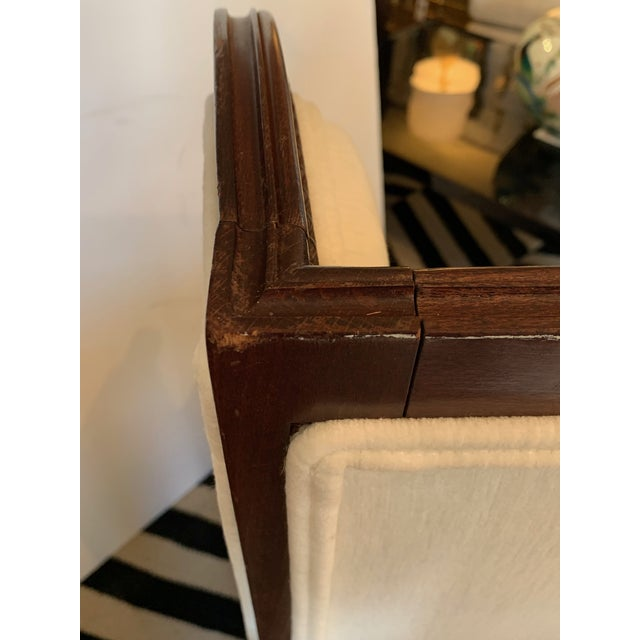 1940s Carved Walnut and Upholstered Wingback Club Chair For Sale - Image 5 of 13