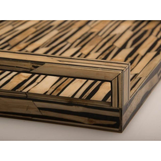 Malaysian Modern Bamboo Inlaid Serving Tray with Handles For Sale In Houston - Image 6 of 7