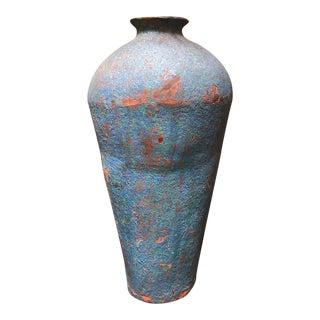 Large Blue Ceramic Vase With Floral Arrangement