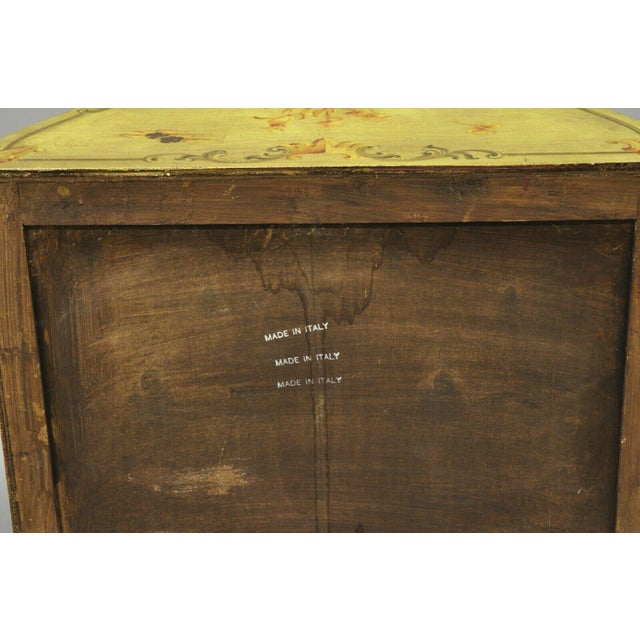 Yellow Vintage Italian Hand Painted Yellow Chinoiserie Chest For Sale - Image 8 of 11