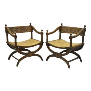 Pair of Renaissance Revival Style Wood & Cane Curule Throne Lounge Chairs Vintage