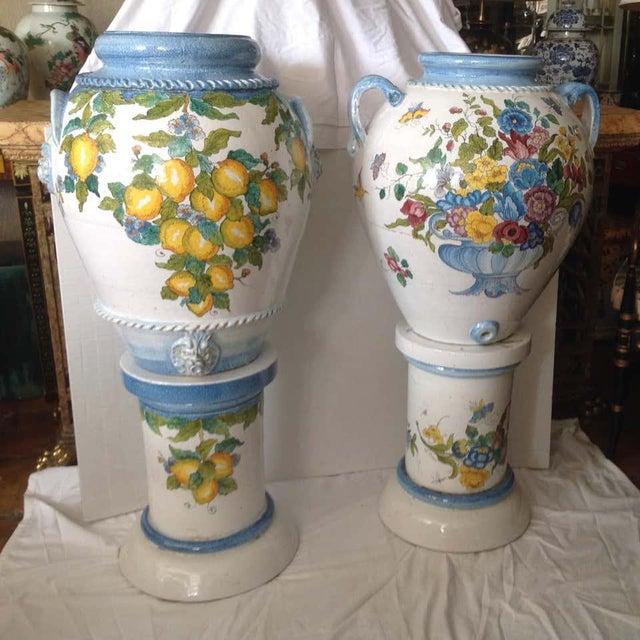 """Pair"" of Massive Glazed Terra Cotta Urns on Pedestals For Sale - Image 13 of 13"