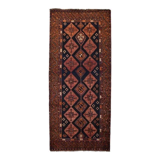 1980s Vintage Persian Qashqai Rug- 4'6'' X 10'3'' For Sale