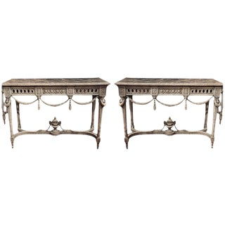 19th Century Louis XVI Carved Painted Faux Marble Top Consoles - a Pair For Sale