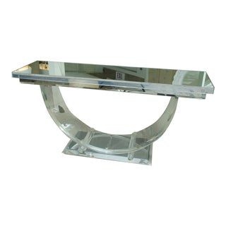Mid-Century Mirrored Top Lucite Console With U-Shaped Bottom For Sale