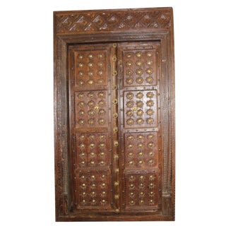 Antique Indian Architectural Earthy Hand Carved Double Doors For Sale