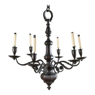 1920s Caldwell Six Light Brown Patina Chandelier For Sale
