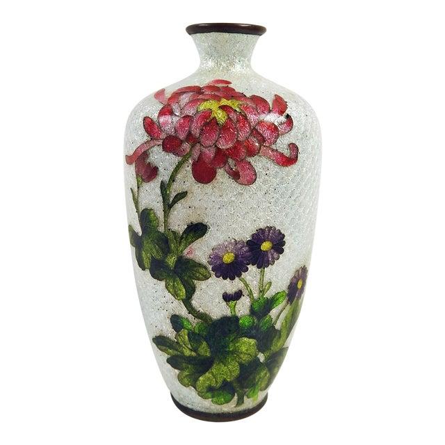 Japanese Ginbari Cloisonne Chrysanthemum Vase - Image 1 of 5
