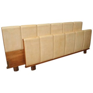 Italian Modern Parchment and Pearwood Bed by Borsani For Sale