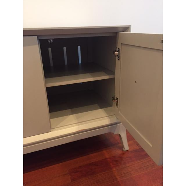Light Grey 4-Door Wood Credenza - Image 5 of 5