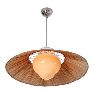 Gunilla Jung Opaline Glass and Rattan Pendant for Orno, Finland, 1940s For Sale