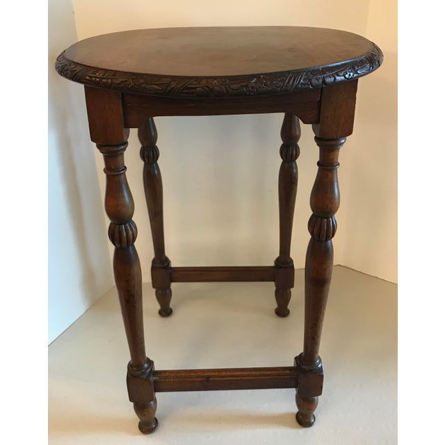 Vintage Carved Top Oval Shaped Drink Table For Sale - Image 4 of 8