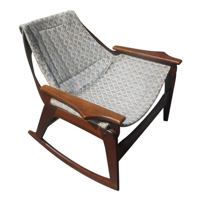 1960s Jerry Johnson Mid-Century Modern Walnut Sling Rocking Chair For Sale