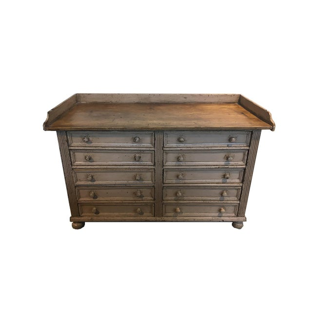 Wood 10 Drawer English Antiqued Buffet For Sale - Image 7 of 8