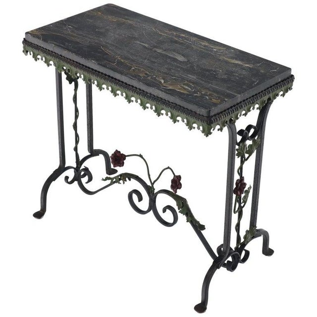 Black Marble Top Ornate Wrought Iron Side Console Table For Sale - Image 13 of 13