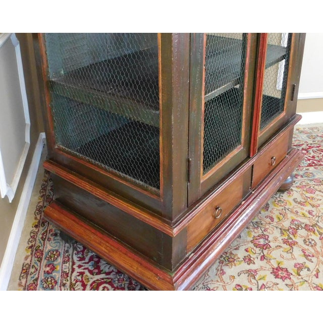 Paint Very Nice Country Style Double Chicken Wire Door Primitive & Rustic Painted Armoire 1990s For Sale - Image 7 of 11