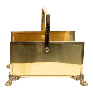 Brass Firewood Holder with Lion Paw Feet For Sale