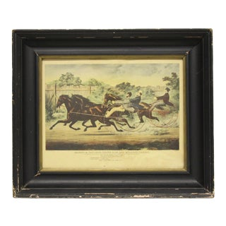 Courier & Ives Framed Trotting Contest Reproduction For Sale