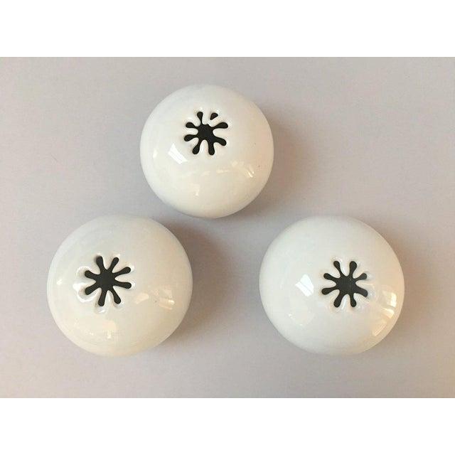 Bennington Potters Modern White Pottery Orb Spark Vases - Set of 3 For Sale - Image 9 of 9