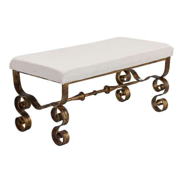 Upholstered Bench with Scrolled Gilt Metal Legs - Image 1 of 8