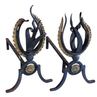 Lively Pair of French 1940s Hand-Wrought Iron Andirons of a Stylized Flame For Sale