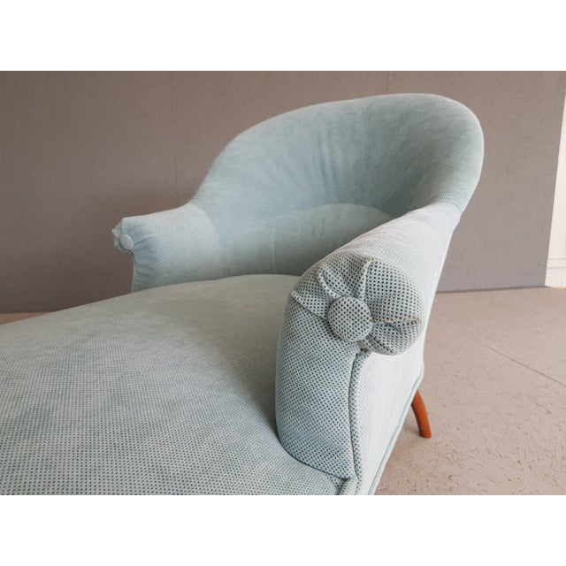 Upholstery Blue French Style Chaise Lounge For Sale - Image 11 of 13