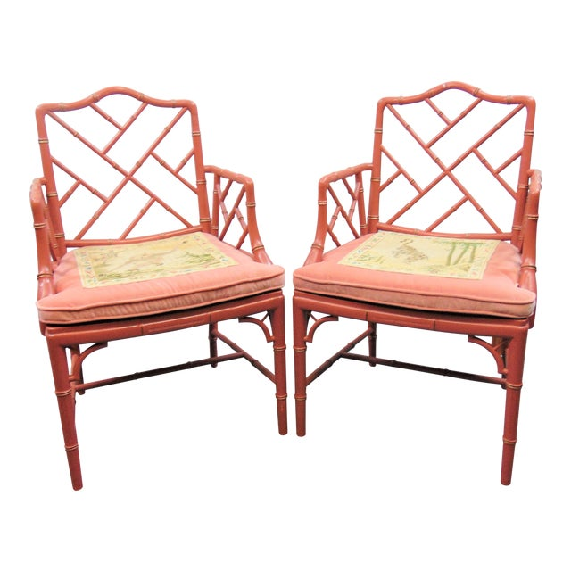 Mid 20th Century Regency Faux Bamboo Rose Arm Chairs - a Pair For Sale