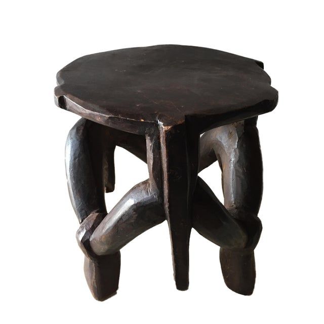 Carved Wooden Makonde Three-Legged Stool From Tanzania For Sale - Image 4 of 8