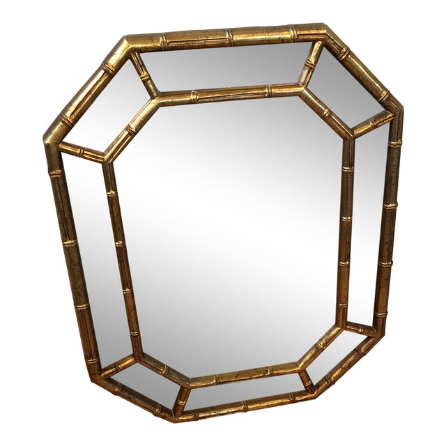 Faux Bamboo Octagon Mirror For Sale