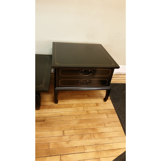 Am. Of Martinsville Black Lacquer Tables - Pair - Image 2 of 8