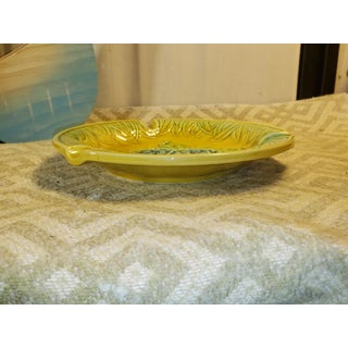 Japanese Porcelain Green and Yellow Majolica Blue Flowers Ashtray Preview