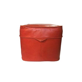 Vintage Orange Vinyl Cube Ottoman For Sale