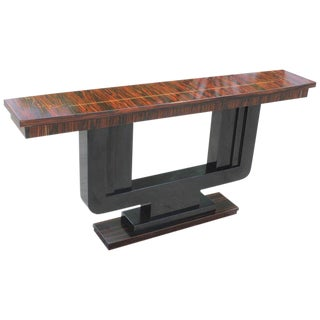 Long French Art Deco Exotic Macassar Ebony Console Table For Sale