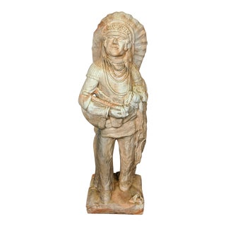 Vintage Swirl Pottery Native American Indian Chief Sculpture For Sale