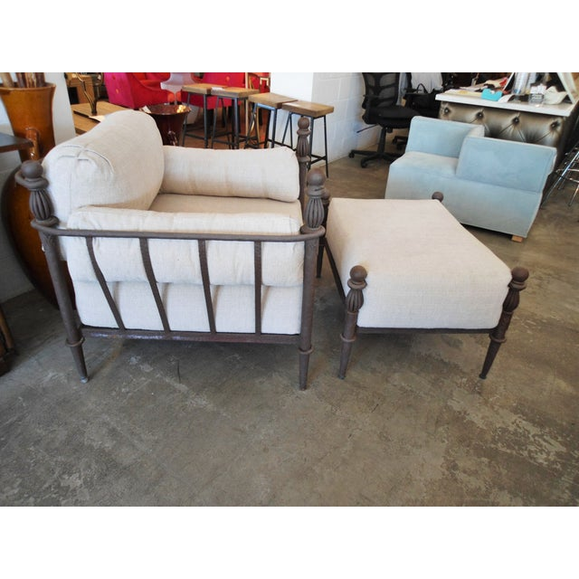 Michael Taylor Michael Taylor Montecito Iron Lounge Chair W/ Ottoman For Sale - Image 4 of 5