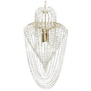 Cascade Crystal & Polished Brass Chandelier For Sale