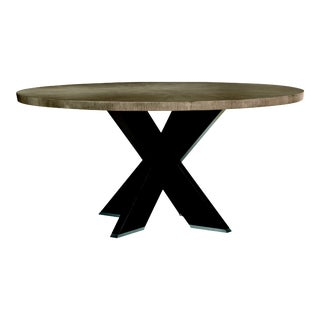"""Century Furniture Casa Bella """"X"""" Base Round Dining Table, Timber Gray and Charbrown For Sale"""
