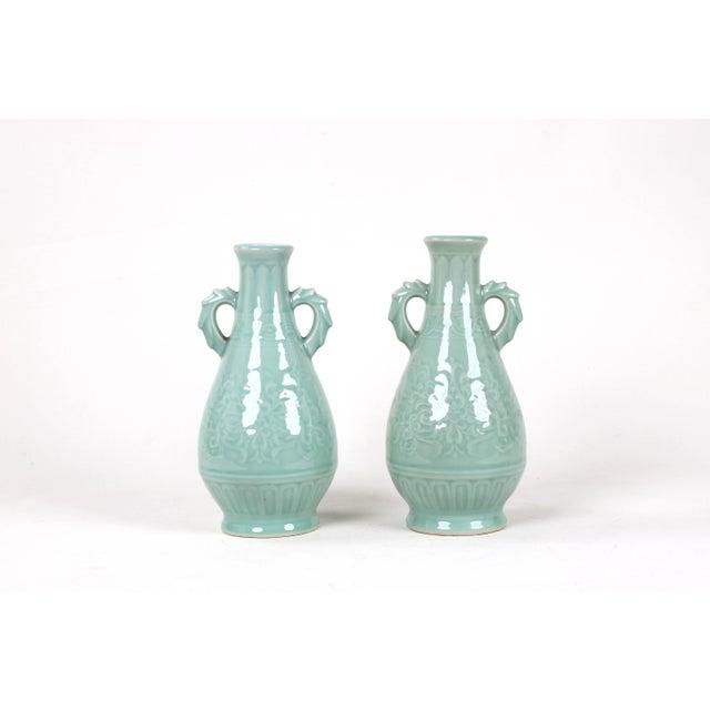 Vintage Celadon Pear Shaped Porcelain Vase For Sale - Image 10 of 13