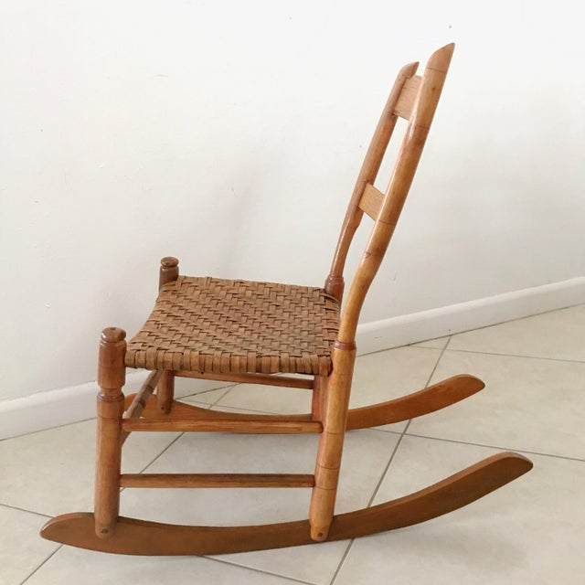 Antique New England Armless Rocker Sewing Rocking Chair For Sale - Image 4  of 13 - Antique New England Armless Rocker Sewing Rocking Chair Chairish