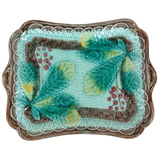 1900s Majolica Chestnut Leaves Wall Platter