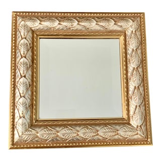 1990s Vintage Bombay Company Silver and Gold Accent Wood Wall Mirror For Sale