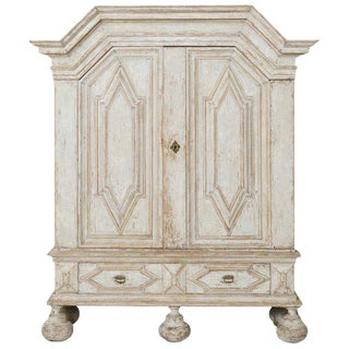 18th Century Swedish Baroque Period Linen Press Armoire Cabinet For Sale
