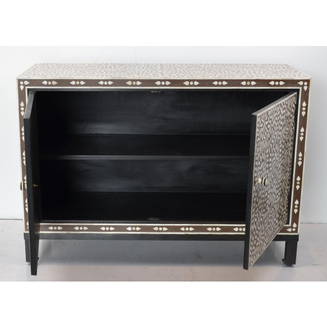 Boho Chic Moroccan Inspired Bone Inlay Cabinet For Sale - Image 3 of 7